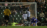 Photo: Lee Earle.<br /> Plymouth Argyle v Cardiff City. Coca Cola Championship. 12/09/2006. Argyle's Luke Summerfield celebrates after Darren Purse (R) scores an own goal.