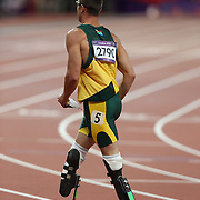 Disabled athlete Oscar Pistorius, South Africa, after competing in the Men's 400m semi Finals at the Olympic Stadium, Olympic Park, Stratford at the London 2012 Olympic games. London, UK. 5th August 2012. Photo Tim Clayton