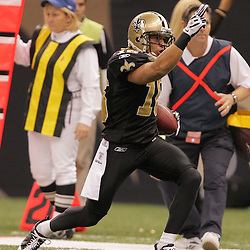 2008 December, 07: New Orleans Saints wide receiver Lance Moore (16) signals first down after a reception during the first half of a game between NFC South divisional rivals the Atlanta Falcons and the New Orleans Saints at the Louisiana Superdome in New Orleans, LA.