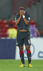 NOVI SAD, SERBIA - Tuesday, September 11, 2012: Wales' Ashley Williams looks dejected as Serbia score the third goal during the 2014 FIFA World Cup Brazil Qualifying Group A match at the Karadorde Stadium. (Pic by David Rawcliffe/Propaganda)