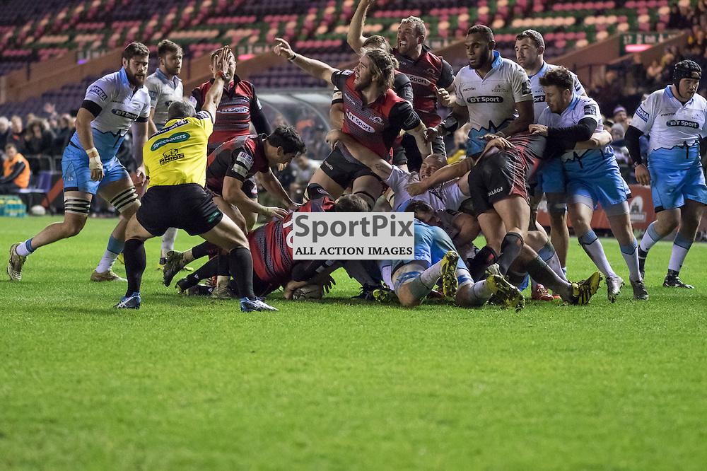 Edinburgh players celebrate John Hardie's second half try..  Edinburgh Rugby v Glasgow Warriors, 27th December 2015