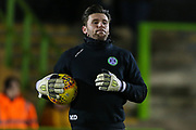 Forest Green Rovers goalkeeper James Montgomery warming up during the EFL Sky Bet League 2 match between Forest Green Rovers and Grimsby Town FC at the New Lawn, Forest Green, United Kingdom on 22 January 2019.