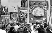 Selby Coalfield and North Selby Branch banners. 1993 Yorkshire Miner's Gala. Wakefield.