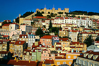 View of Lisbon with the Castelo de Sao Jorge in background, Lisbon, Portugal