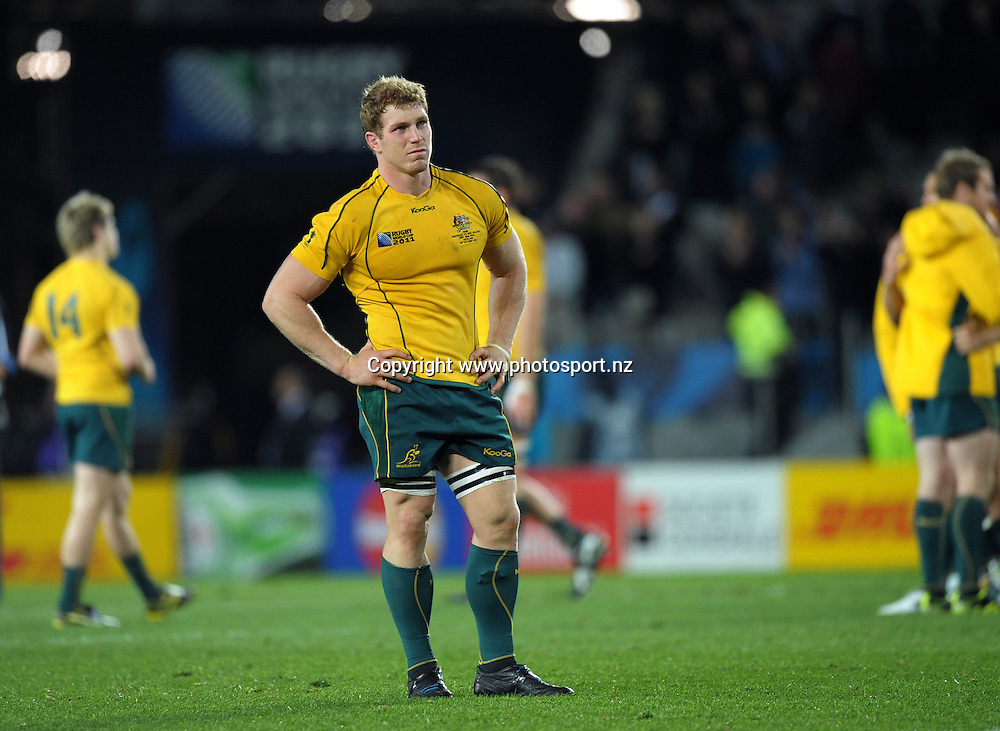 Australian flanker David Pocock reflects on the loss after the All Blacks v Australia semifinal match of the 2011 IRB Rugby World Cup at Eden Park, Auckland, New Zealand on Saturday, 16 October 2011. Photo: Dave Lintott / photosport.co.nz