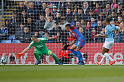 GOAL 0-2 Manchester City midfielder Raheem Sterling (7) scores his second goal during the Premier League match between Crystal Palace and Manchester City at Selhurst Park, London, England on 14 April 2019.