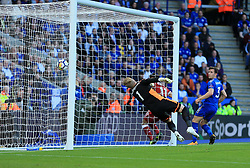 Kasper Schmeichel of Leicester City dives but cant stop Mohamed Salah of Liverpool scoring (0-1) - Mandatory by-line: Paul Roberts/JMP - 23/09/2017 - FOOTBALL - King Power Stadium - Leicester, England - Leicester City v Liverpool - Premier League