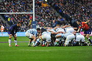 Gonzalo Bertranou puts into the scrum tracked by Greig Laidlaw during the Autumn Test match between Scotland and Argentina at Murrayfield, Edinburgh, Scotland on 24 November 2018.