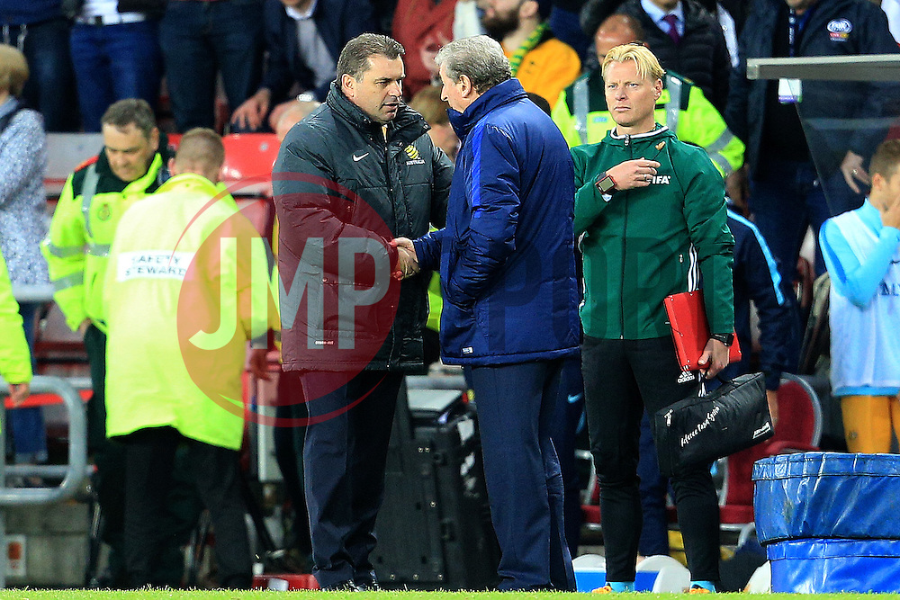 Australia Manager Ange Postecoglou shakes hands with England Manager Roy Hodgson  - Mandatory by-line: Matt McNulty/JMP - 27/05/2016 - FOOTBALL - Stadium of Light - Sunderland, United Kingdom - England v Australia - International Friendly
