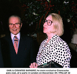 EARL & COUNTESS BATHURST, he owns exclusive Cirencester polo club, at a party in London on December 4th 1996..LUF 32