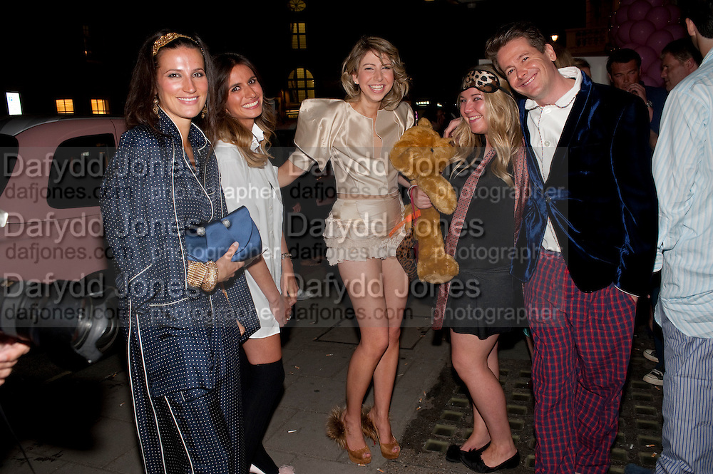 ANNA BROMILOW; VICKI WRIGHT; AILSA MILLER; ELSA MILLER; CHRISTOPHER WHALE, Tatler magazine's  pyjama party sponsored by Thomas Pink. Claridge's. London. 7 July 2011.<br /> <br />  , -DO NOT ARCHIVE-© Copyright Photograph by Dafydd Jones. 248 Clapham Rd. London SW9 0PZ. Tel 0207 820 0771. www.dafjones.com.