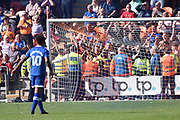 The Oldham Athletic fans in front of the stewards during the EFL Sky Bet League 1 match between Blackpool and Oldham Athletic at Bloomfield Road, Blackpool, England on 26 August 2017. Photo by Mark Pollitt.