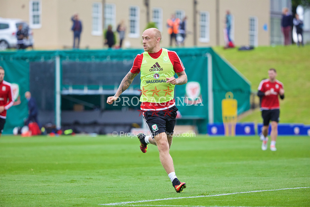 CARDIFF, WALES - Wednesday, June 1, 2016: Wales' David Cotterill during a training session at the Vale Resort Hotel ahead of the International Friendly match against Sweden. (Pic by David Rawcliffe/Propaganda)