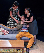 Hatched 'n' Dispatched <br /> by Gemma Page and Michael Kirk<br /> World Premier <br /> at the Park Theatre, London, Great Britain <br /> press photocall <br /> 2nd September 2015 <br /> <br /> <br /> Matthew Fraser Holland as Oliver Kersh<br /> Danielle Flett as Corinne Needham <br /> Vicky Binns as Madeleine Kershaw<br /> <br /> <br /> Photograph by Elliott Franks <br /> Image licensed to Elliott Franks Photography Services