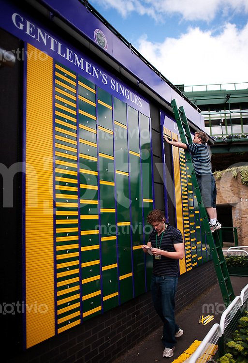 Staff sets up players names on the draw board of the 2010 Championships Preparation for The Wimbledon Championships 2010 The All England Lawn Tennis & Croquet Club  Saturday Pre Championships Saturday 18/06/2010
