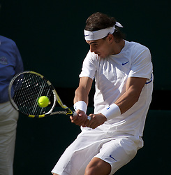 LONDON, ENGLAND - Friday, July 1, 2011: Rafael Nadal (ESP) in action during the Gentlemen's Singles Semi-Final match on day eleven of the Wimbledon Lawn Tennis Championships at the All England Lawn Tennis and Croquet Club. (Pic by David Rawcliffe/Propaganda)
