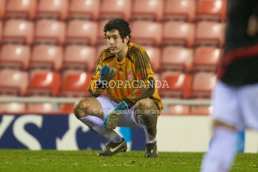 SUNDERLAND, ENGLAND - Wednesday, February 13, 2008: Liverpool's goalkeeper Dean Bouzanis looks dejected after losing 5-3 after extra-time against Sunderland during the FA Youth Cup 5th Round match at the Stadium of Light. (Photo by David Rawcliffe/Propaganda)