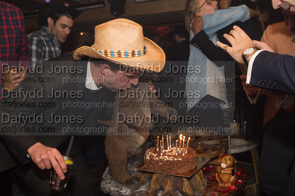 ALEXANDER JEVONS BIRTHDAY CAKE, The launch of Beaver Lodge in Chelsea, a cabin bar and dance saloon, 266 Fulham Rd. London. 4 December 2014