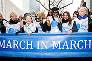 Trudie Styler, Ban Soon-taek, Kim Cattrall, Naomi Campbell and Muna Rihani Al-Nasser attend the March To End Violence Against Women at the United Nations Headquarters in New York City, New York on March 07, 2014.