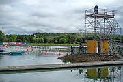 Glasgow, Scotland, Friday, 3rd  August 2018, Small Island with a TV Gantry at the start of the course, European Games, Rowing, Strathclyde Park, North Lanarkshire, © Peter SPURRIER/Alamy Live News