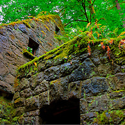 "View of ""the Witch's Castle,"" a structure actually built to serve as a trail side public restroom in the 1930's - Lower Macleay Park, Portland, OR"