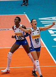 04-08-2019 ITA: FIVB Tokyo Volleyball Qualification 2019 / Netherlands, - Italy Catania<br /> last match pool F in hall Pala Catania between Netherlands - Italy for the Olympic ticket. Italy win 3-0 and take the ticket to the Olympics / Paola Ogechi Egonu #18 of Italy, Cristina Chirichella#10 of Italy