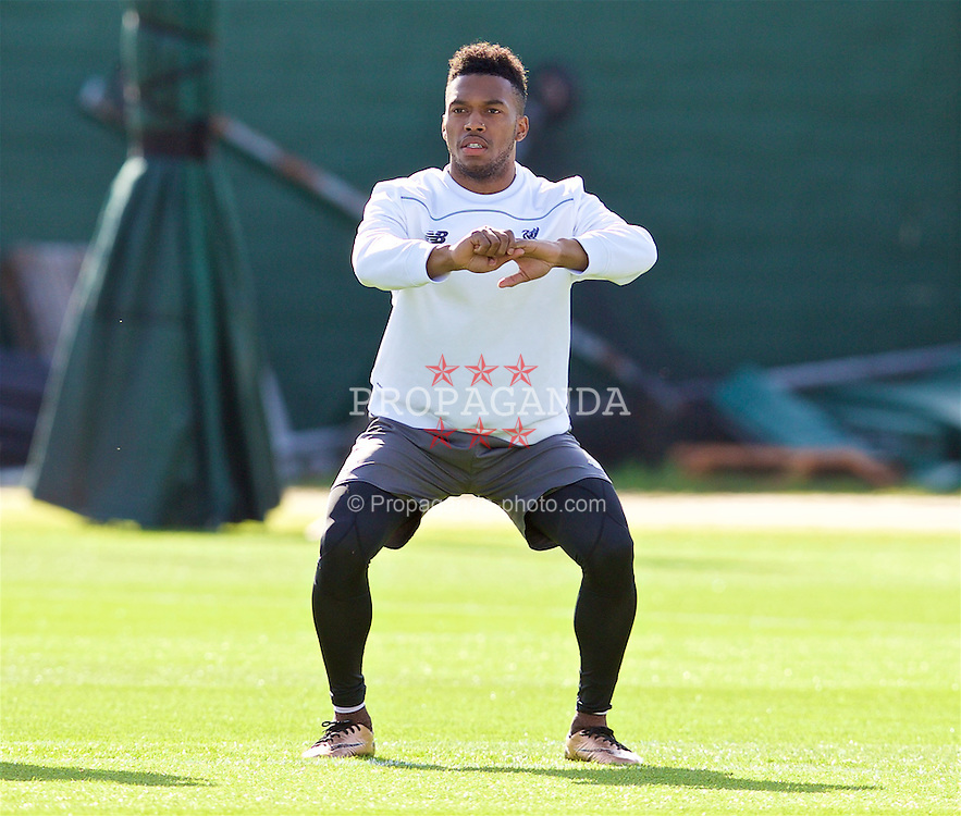 LIVERPOOL, ENGLAND - Wednesday, May 4, 2016: Liverpool's Daniel Sturridge during a training session at Melwood Training Ground ahead of the UEFA Europa League Semi-Final 2nd Leg match against Villarreal CF. (Pic by David Rawcliffe/Propaganda)