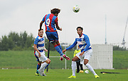 Keshi Anderson with a headed chance during the U21 Professional Development League match between U21 QPR and U21 Crystal Palace at the Loftus Road Stadium, London, England on 31 August 2015. Photo by Michael Hulf.