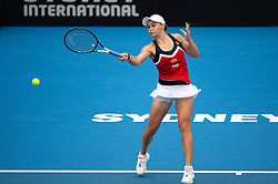 January 11, 2019 - Sydney, Australia - ASHLEIGH BARTY (AUS) hits a forehand in her game against Kiki Bertens (NED) at The Sydney International Tennis on January 11, 2018, at Sydney Olympic Park Tennis Centre in Homebush. (Credit Image: © Steven Markham/Icon SMI via ZUMA Press)