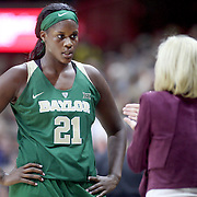 STORRS, CONNECTICUT- NOVEMBER 17: Baylor Head coach Kim Mulkey on the sideline talking with Kalani Brown #21 of the Baylor Bears during her sides loss during the UConn Huskies Vs Baylor Bears NCAA Women's Basketball game at Gampel Pavilion, on November 17th, 2016 in Storrs, Connecticut. (Photo by Tim Clayton/Corbis via Getty Images)