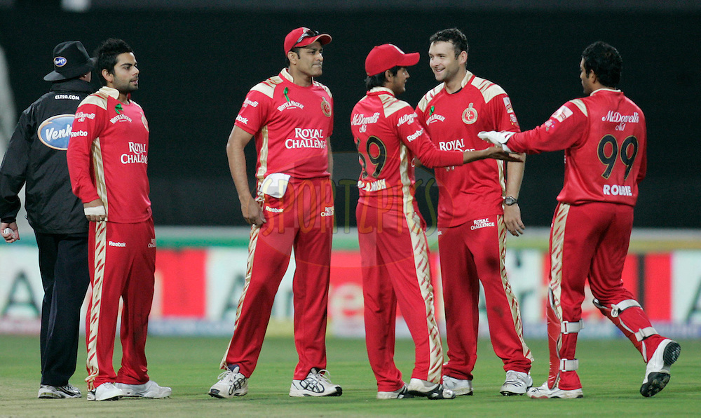 Royal players celebrates during match 18 of the Airtel CLT20 held between the Lions and Royal Challengers Bangalore at The Wanderers Stadium in Johannesburg on the 19 September 2010..Photo by: Abbey Sebetha/SPORTZPICS/CLT20