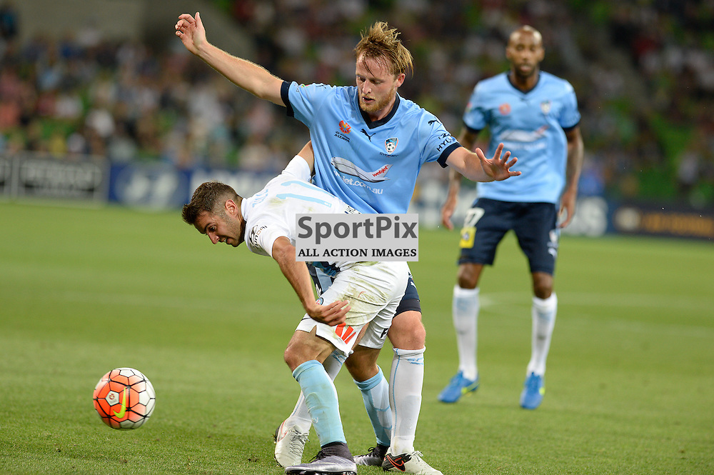 Michael Zullo of Melbourne City, Rhyan Grant of Sydney FC - Hyundai A-League, January 2nd 2016, RD13 match between Melbourne City FC V Sydney FC at Aami Park, Melbourne, Australia in a 2:2 draw. © Mark Avellino | SportPix.org.uk