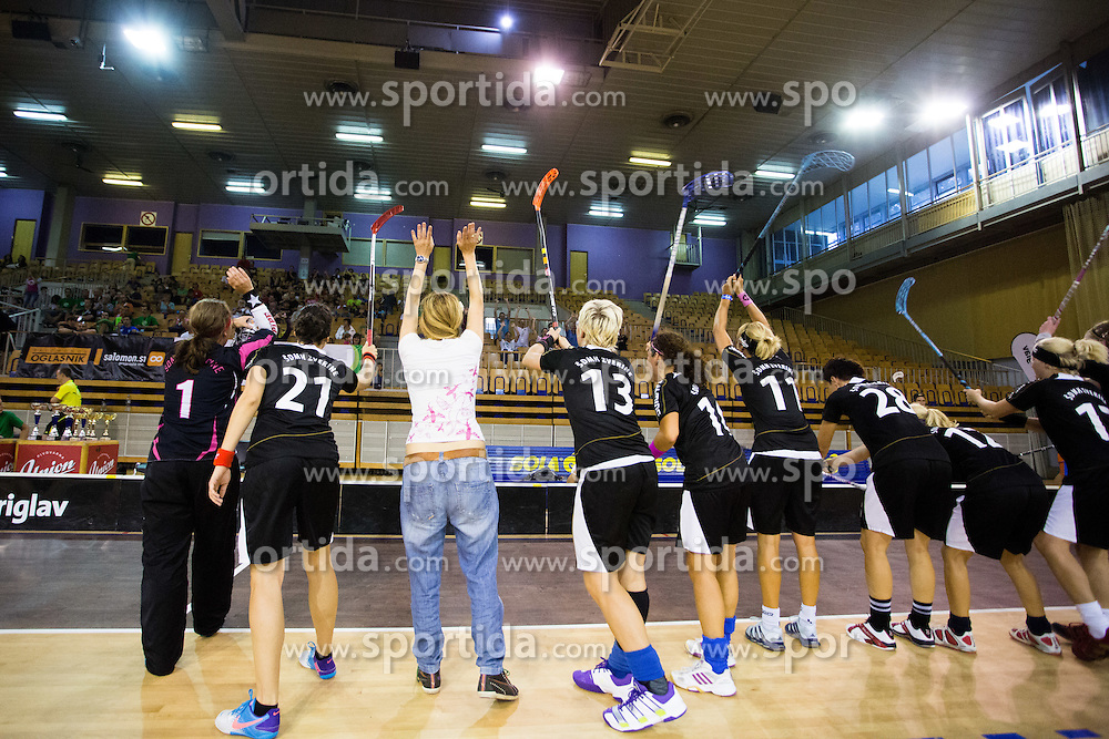 Players of SDMH Zverine celebrate victory after final match between Elite Team Junior and SMDH Zverine in Floorball Slo Open 2012, on August 26, 2012 in Ljubljana, Slovenia.  (Photo by Matic Klansek Velej / Sportida.com)
