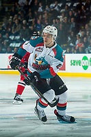 KELOWNA, CANADA - APRIL 8: Calvin Thurkauf #27 of the Kelowna Rockets skates against the Portland Winterhawks on April 8, 2017 at Prospera Place in Kelowna, British Columbia, Canada.  (Photo by Marissa Baecker/Shoot the Breeze)  *** Local Caption ***