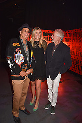 """Left to right, Gerry Fox, Josie Lindop and guest at """"Hoping For Palestine"""" Benefit Concert For Palestinian Refugee Children held at The Roundhouse, Chalk Farm Road, England. 04 June 2018. <br /> Photo by Dominic O'Neill/SilverHub 0203 174 1069/ 07711972644 - Editors@silverhubmedia.com"""