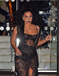 Singer Lady Gaga wearing a black lace dress leaving The Langham Hotel before heading to Guy Ritchie's pub 'The Punch Bowl' in Mayfair, London, UK. 22/10/2014<br />BYLINE MUST READ : GOTCHAIMAGES.COM<br /><br />Copyright by © Gotcha Images Ltd. All rights reserved.<br />Usage of this image is conditional upon the acceptance <br />of Gotcha Images Ltd, terms and conditions available at<br />www.gotchaimages.com
