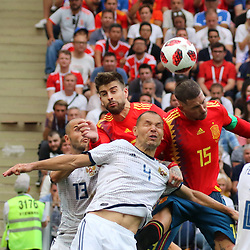 July 1, 2018 - Moscow, Russia - July 01, 2018, Russia, Moscow, FIFA World Cup 2018, the playoff round. Football match Spain - Russia at the stadium Luzhniki. Player of the national team Sergey Ignashevich; Sergio Ramos. (Credit Image: © Russian Look via ZUMA Wire)