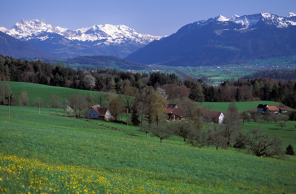 Swiss Alps in Spring near Rickenpass, St.Gallen Canton, Switzerland