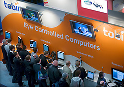 HANNOVER, GERMANY - MARCH-6-2008 - Crowds gather at the tobii installation (www.tobii.com) where they were demonstrating their eye tracking technology. (Photo © Jock Fistick)