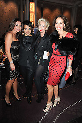 Left to right, ELLA KRASNER, PABLO GANGULI, AMANDA ELIASCH and ANDREA DELLAL at the Liberatum Dinner hosted by Ella Krasner and Pablo Ganguli in honour of Sir V S Naipaul at The Landau at The Langham, Portland Place, London on 23rd November 2010.