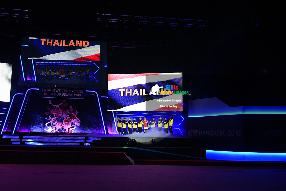 BANGKOK, THAILAND - MAY 26: Team Thailand entrance for the Uber Cup Finals at the BWF Total Thomas and Uber Cup Finals 2018, Impact Arena, Bangkok, Thailand on May 26, 2018.<br /> .<br /> .<br /> .<br /> (Photo by: Naratip Golf Srisupab/SEALs Sports Images)<br /> .<br /> Any image use must include a mandatory credit line adjacent to the content which should read: Naratip Golf Srisupab/SEALs Sports Images
