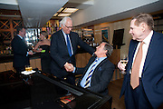 SIR EVELYN DE ROTHSCHILD; PETER DUCHIN; WILLIAM RAYNER, An exhibition of watercolours by William Rayner at Mallet's, New Bond St. Party afterwards at Bellami's, bruton Place. London. 16 June 2010. .-DO NOT ARCHIVE-© Copyright Photograph by Dafydd Jones. 248 Clapham Rd. London SW9 0PZ. Tel 0207 820 0771. www.dafjones.com.