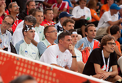 Slovenia team watch when Martina Ratej of Slovenia competes in the Womens Javelin Final during day three of the 20th European Athletics Championships at the Olympic Stadium on July 29, 2010 in Barcelona, Spain. (Photo by Vid Ponikvar / Sportida)