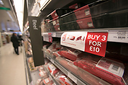 © licensed to London News Pictures. London, UK 13/02/2013. Meat products of Waitrose pictured. Frozen packs of 16 beef meatballs from Essentials range removed from sale. Meatballs labelled as being made from beef contained pork. Photo credit: Tolga Akmen/LNP