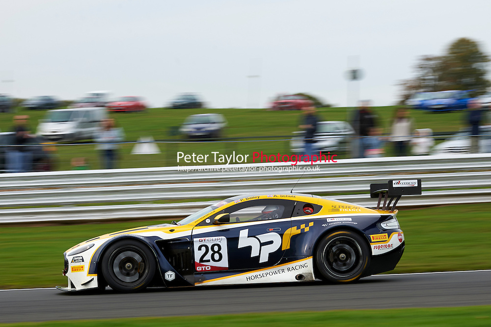 #28 Paul Bailey/Andy Schulz Aston Martin Vantage GT3during GT Cup - Race 2 as part of the MSVR Oulton Park 10th October 2015 at Oulton Park, Little Budworth, Cheshire, United Kingdom. October 10 2015. World Copyright Taylor/PSP. Copy of publication required for printed pictures.  Every used picture is fee-liable.