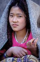 Nepal - Region de Gorkha - Jeune femme d'ethnie Gurung