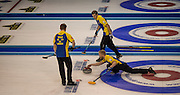 "Glasgow. SCOTLAND. Sweden's, Niklas EDIN, moving towards the ""Hog Line to guide his ""Stone"" across the line during the, Le Gruyère European Curling Championships. 2016 Venue, Braehead  Scotland<br /> Sunday  20/11/2016<br /> <br /> [Mandatory Credit; Peter Spurrier/Intersport-images]"