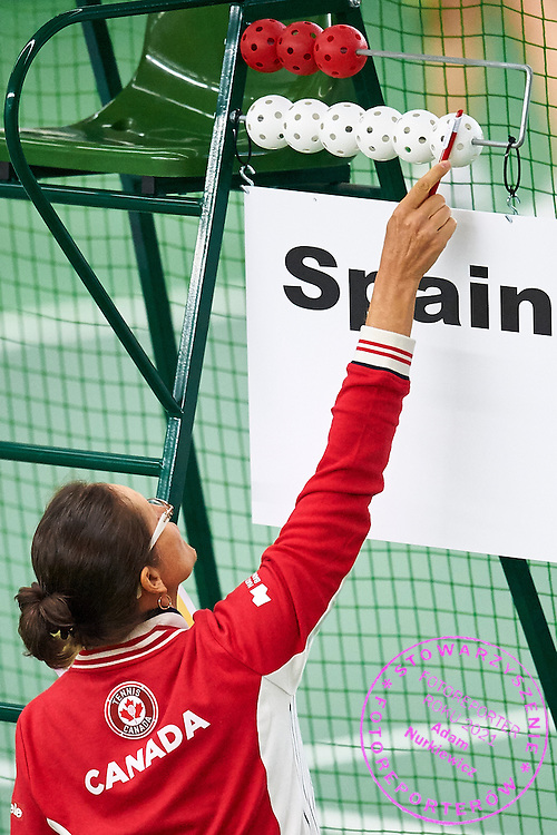 Helsinki, Finland - 2016 June 23: Player from Canada sets the scoreboard while team women's Alice Marble Cup (Women 60) match between Canada and Spain during 2016 ITF Seniors World Team Championships at Talin Tenniskeskus on June 23, 2016 in Helsinki, Finland.<br /> <br /> Adam Nurkiewicz declares that he has no rights to the image of people at the photographs of his authorship.<br /> <br /> Picture also available in RAW (NEF) or TIFF format on special request.<br /> <br /> Any editorial, commercial or promotional use requires written permission from the author of image.<br /> <br /> Mandatory credit:<br /> Photo by &copy; Adam Nurkiewicz
