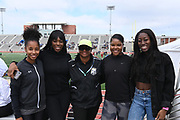 Apr 19, 2019; Torrance, CA, USA; Cal State L.A. Golden Eagles coach Tina Fernandes (center) poses during the 61st Mt. San Antonio College Relays at El Camino College. From left: Melia Cox, Kemi Olonade, Fernandes, Vanessa Jones and Samantha Ojo.
