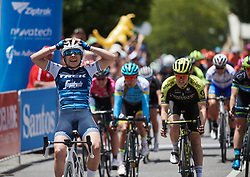 Letizia Paternoster (ITA) celebrates her stage win at Santos Women's Tour Down Under 2019 - Stage 1, a 112.9 km road race from Hahndorf to Birdwood, Australia on January 10, 2019. Photo by Sean Robinson/velofocus.com